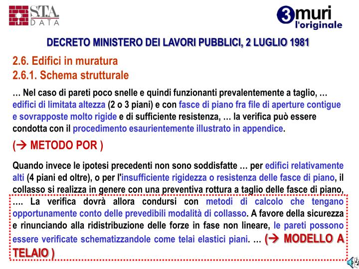 DECRETO MINISTERO DEI LAVORI PUBBLICI, 2 LUGLIO 1981
