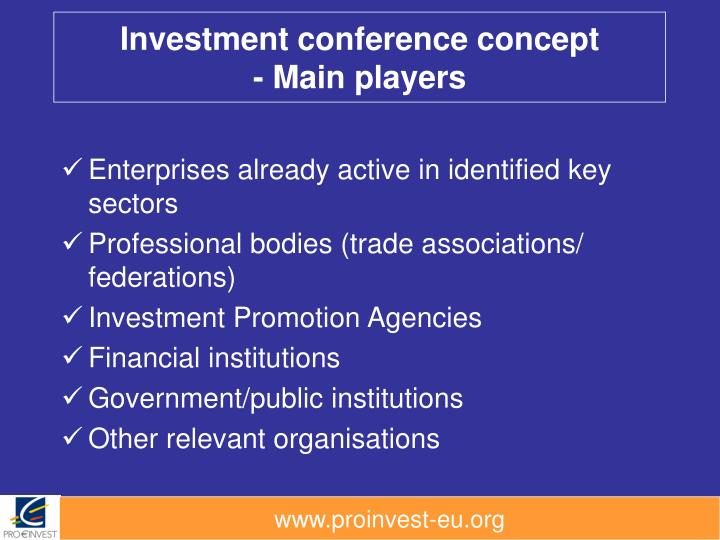 Investment conference concept main players