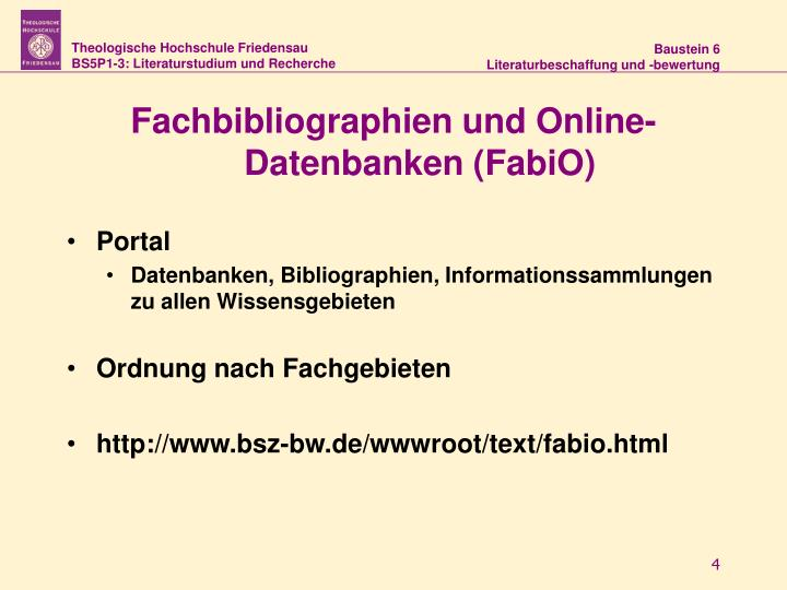 Fachbibliographien und Online-Datenbanken (FabiO)