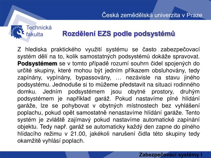 Rozdělení EZS podle podsystémů