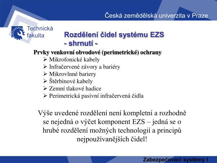Rozdělení čidel systému EZS