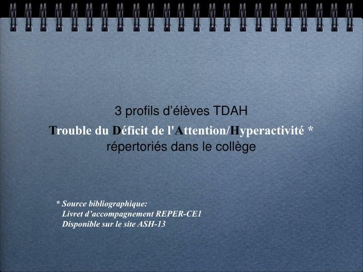3 profils d'élèves TDAH