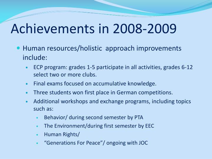 Achievements in 2008-2009