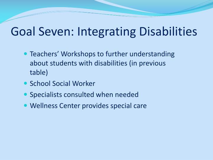 Goal Seven: Integrating Disabilities