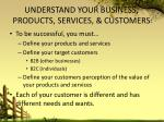 understand your business products services customers
