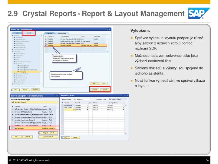 2.9 Crystal Reports