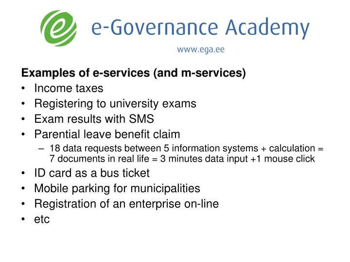Examples of e-services (and m-services)