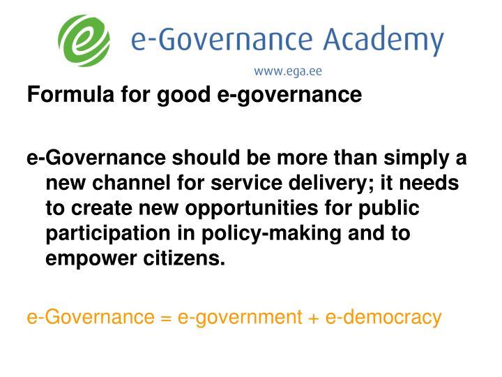Formula for good e-governance