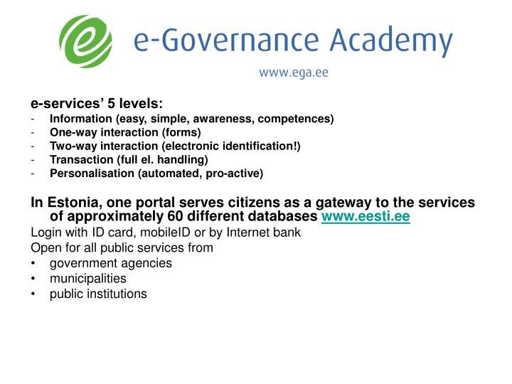 e-services' 5 levels: