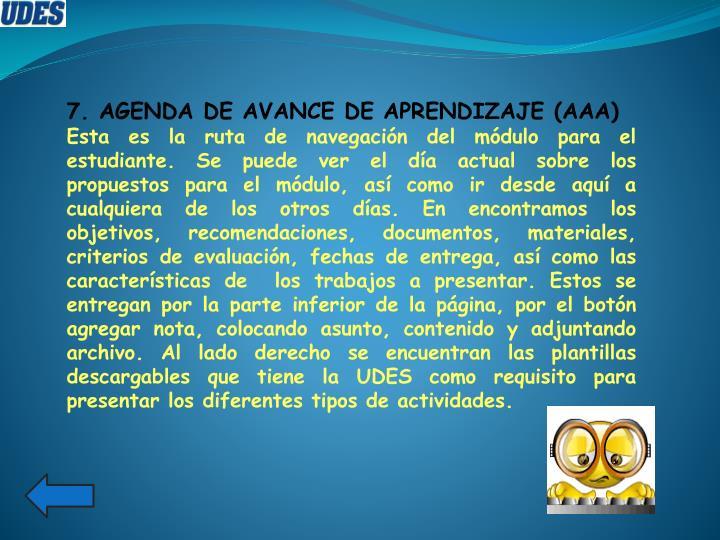 7. AGENDA DE AVANCE DE APRENDIZAJE (