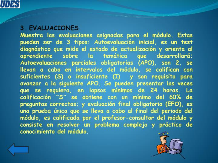 3. EVALUACIONES