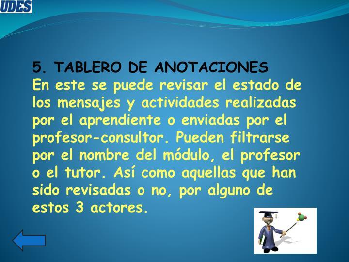 5. TABLERO DE ANOTACIONES