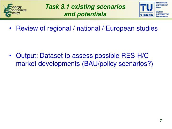 Task 3.1 existing scenarios and potentials