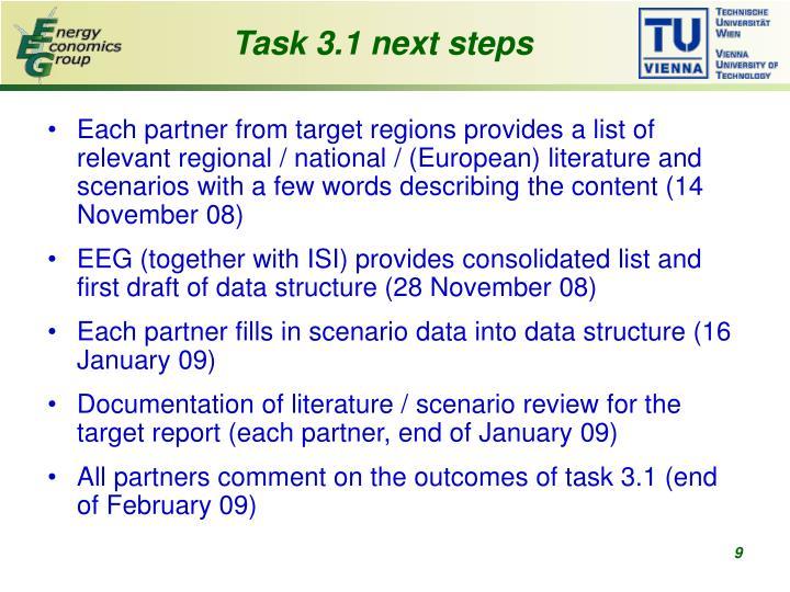 Task 3.1 next steps