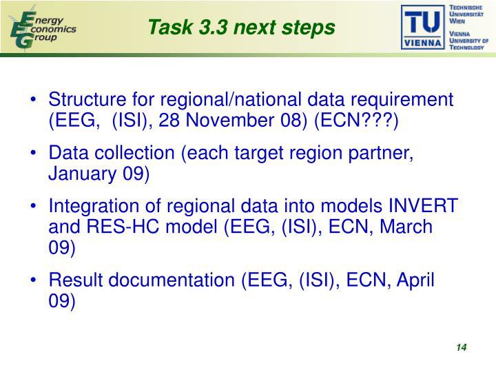 Task 3.3 next steps