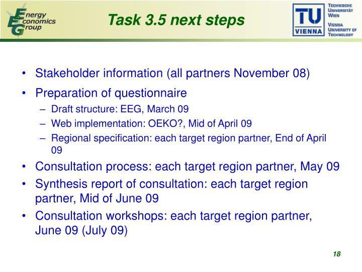 Task 3.5 next steps