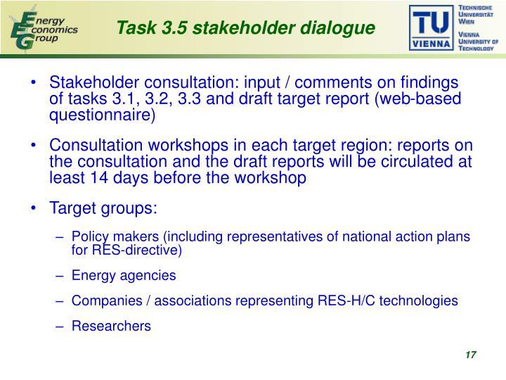 Task 3.5 stakeholder dialogue