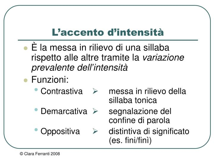 L'accento d'intensità