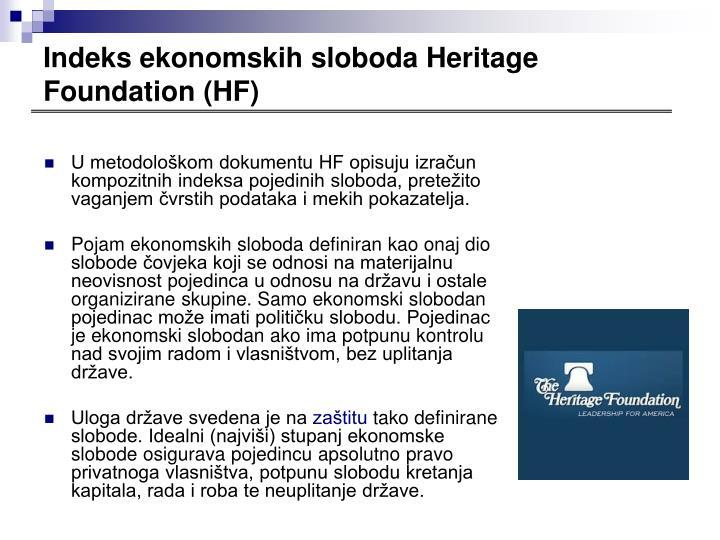Indeks ekonomskih sloboda Heritage Foundation (HF)