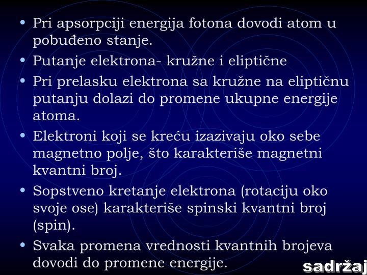 Pri apsorpciji energija fotona dovodi atom u pobuđeno stanje.