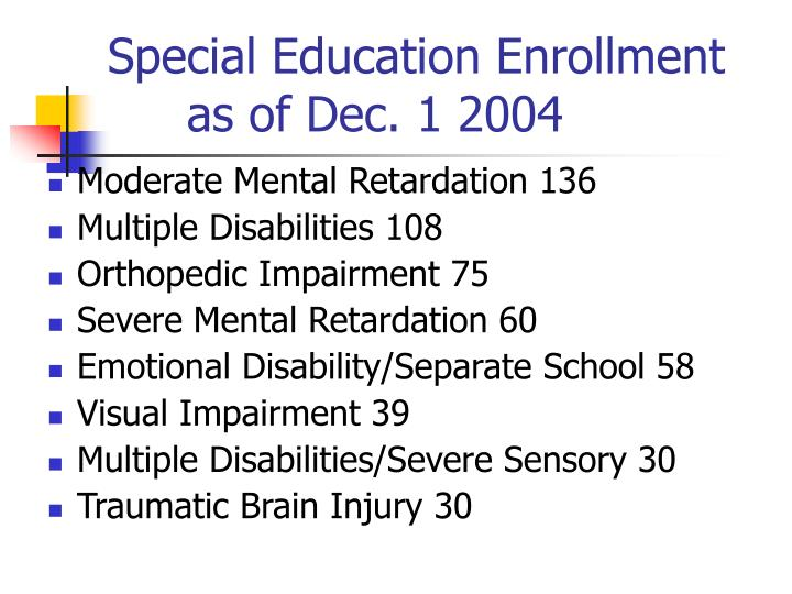 Special Education Enrollmentas of Dec. 1 2004