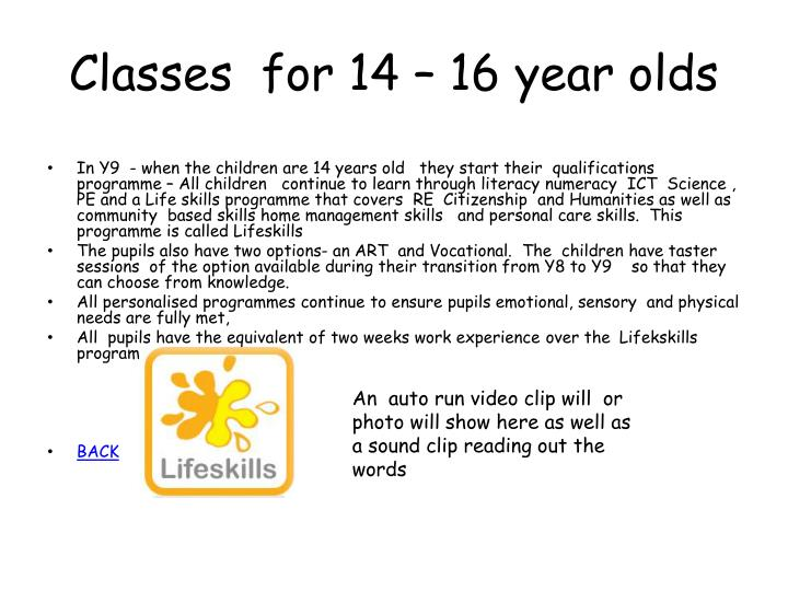 Classes  for 14 – 16 year olds