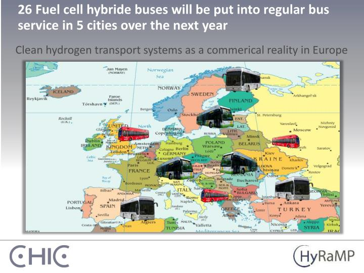 26 Fuel cell hybride buses will be put into regular bus service in 5 cities over the next year