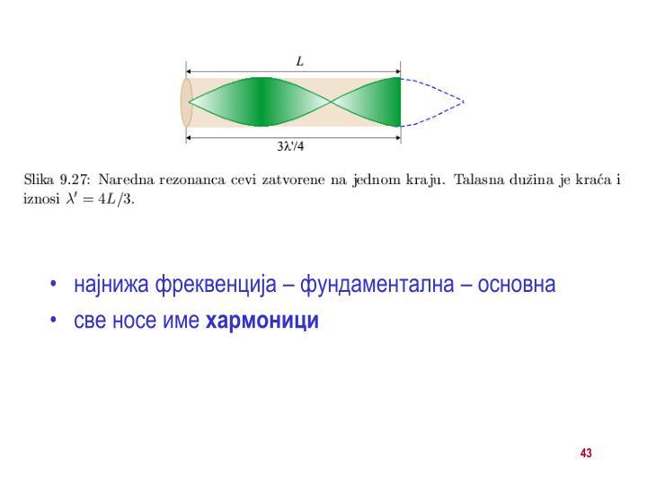 најнижа фреквенција – фундаментална – основна