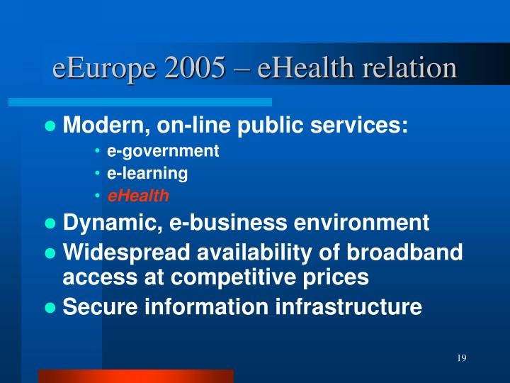 eEurope 2005 – eHealth relation