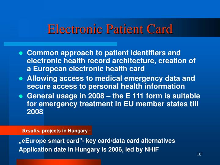 Electronic Patient Card