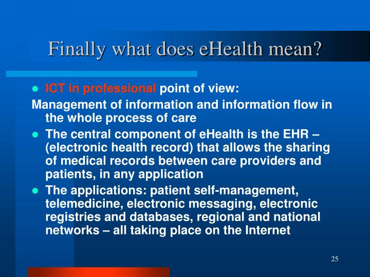Finally what does eHealth mean?