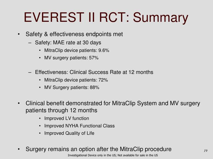 EVEREST II RCT: Summary