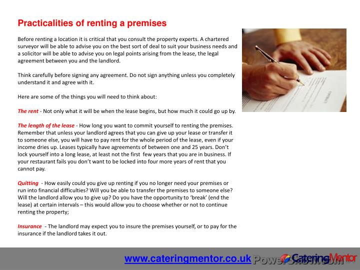 Practicalities of renting a premises