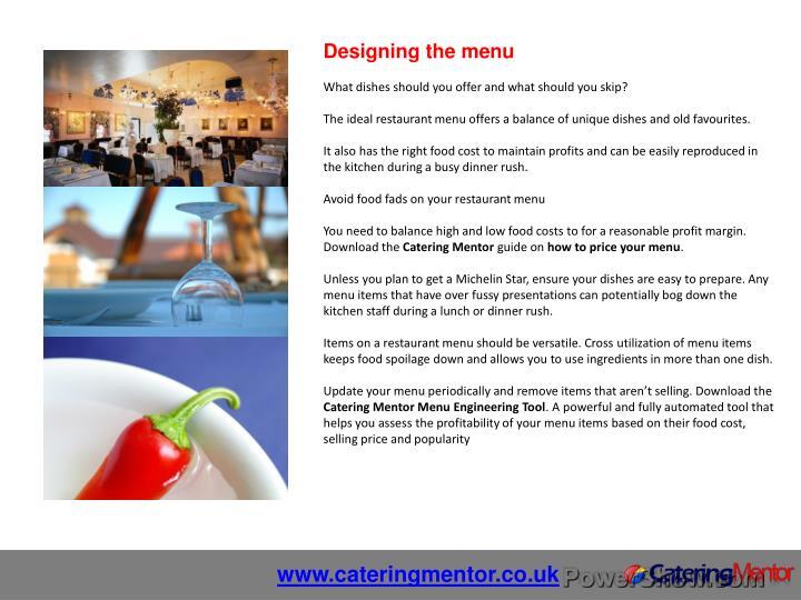 Designing the menu