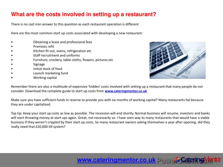 What are the costs involved in setting up a restaurant?