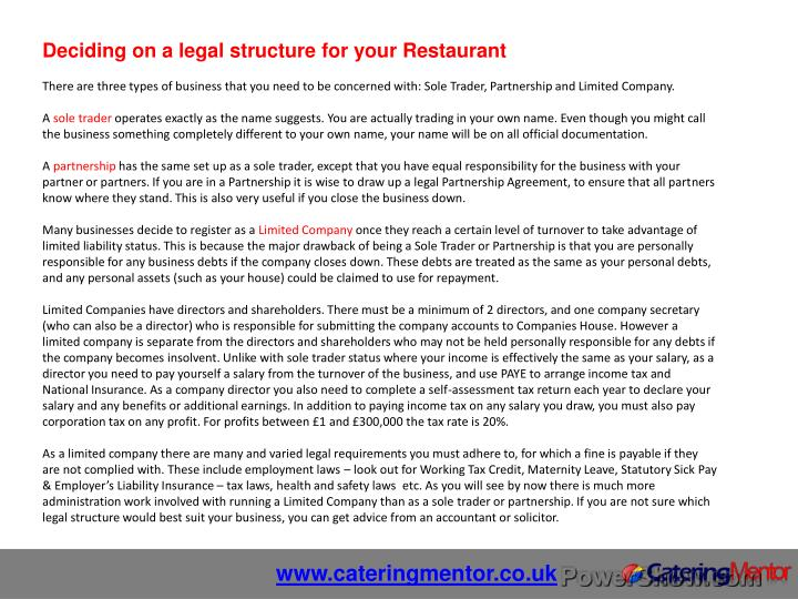 Deciding on a legal structure for your Restaurant