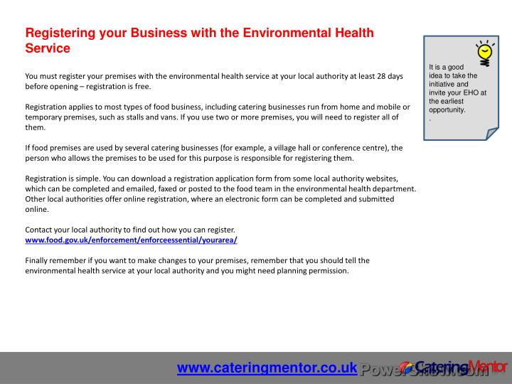 Registering your Business with the Environmental Health Service