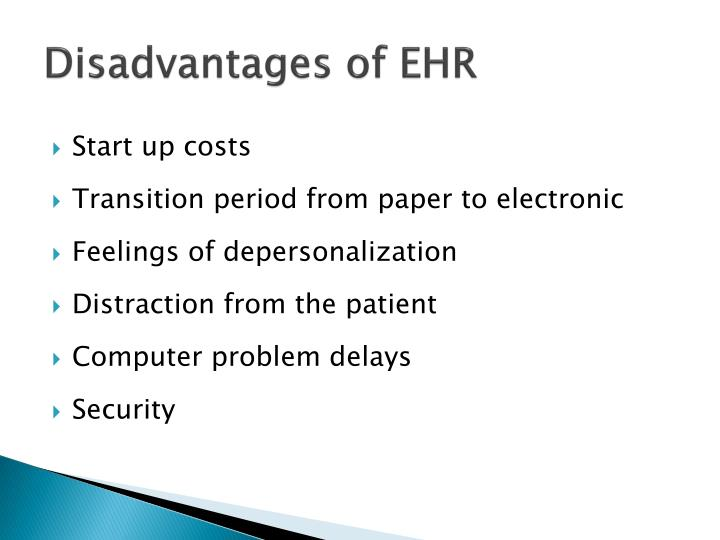 Disadvantages of EHR