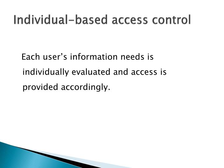 Individual-based access control