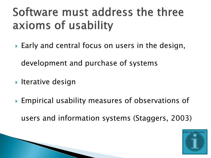 Software must address the three axioms of usability