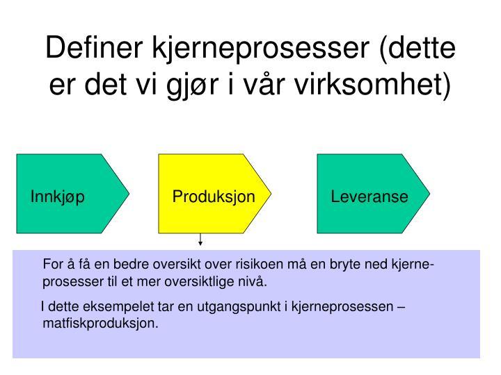 Definer kjerneprosesser (dette er det vi gjør i vår virksomhet)