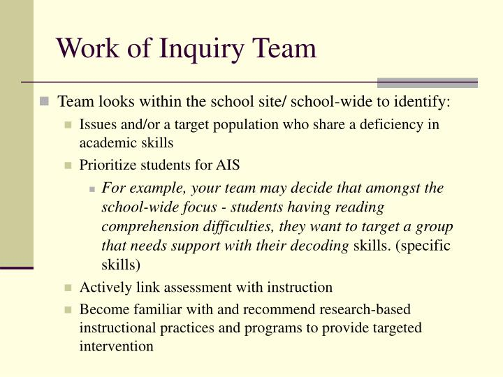 Work of Inquiry Team