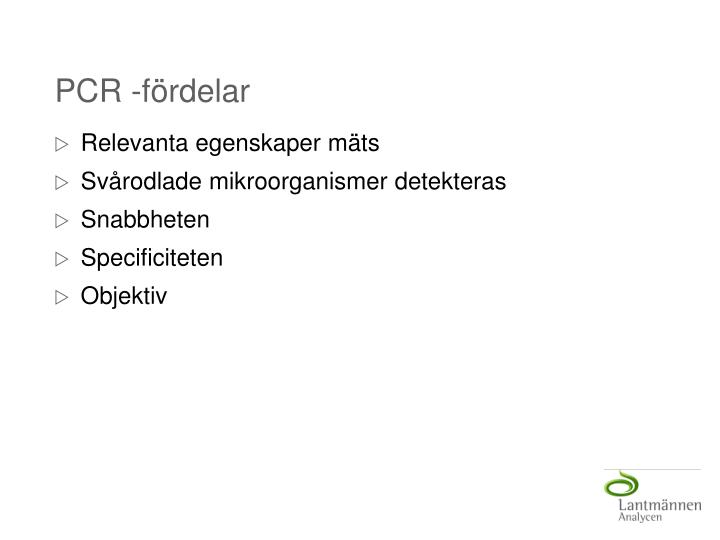 PCR -fördelar