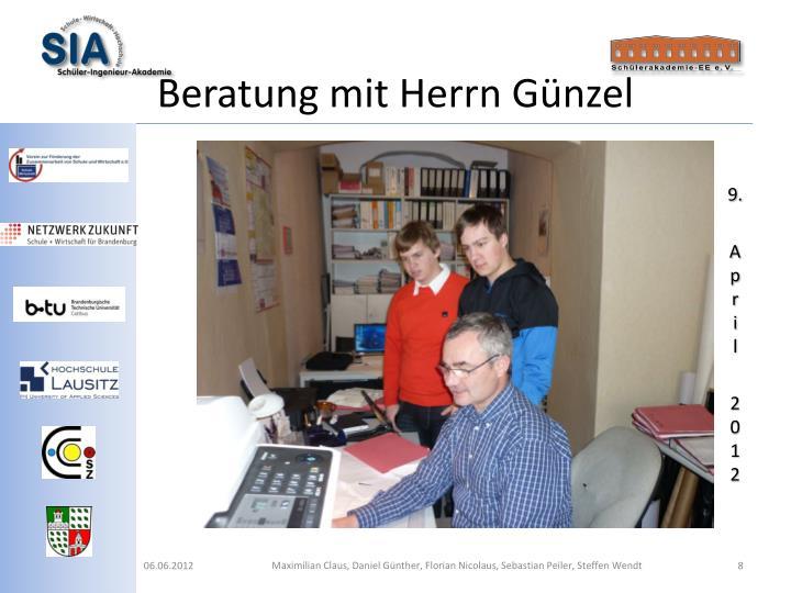 Beratung mit Herrn Günzel