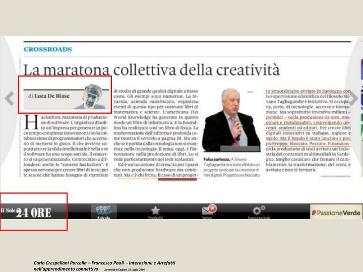 Carlo Crespellani Porcella – Francesco Paoli  - Interazione e Artefatti nell'apprendimento connettivo