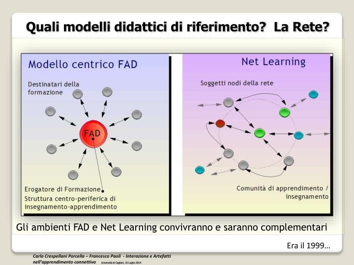 Quali modelli didattici di riferimento?  La Rete?