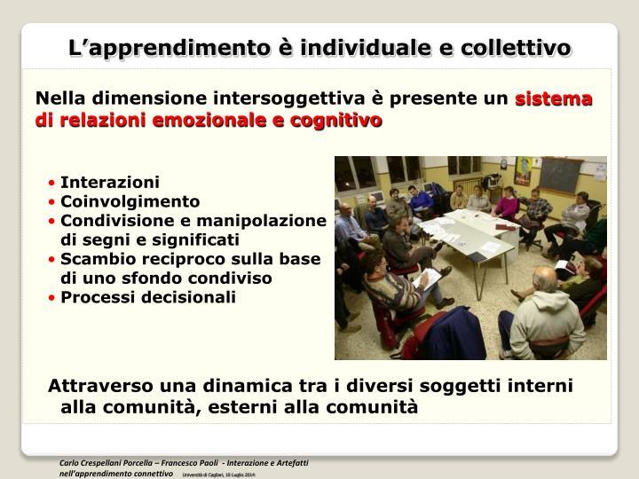 L'apprendimento è individuale e collettivo