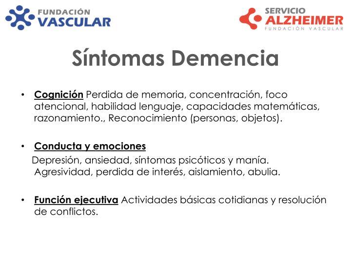Síntomas Demencia