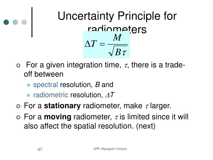Uncertainty Principle for radiometers