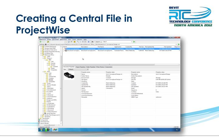 Creating a Central File in ProjectWise